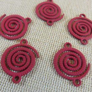 pendentifs spiral vague tribal 21mm métal rouge – lot de 5
