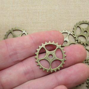 Pendentifs engrenage bronze steampunk 25mm – lot de 6