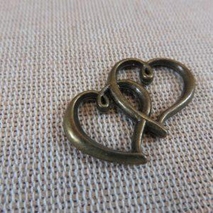 Pendentifs cœur bronze entrelacé 32x25mm – lot de 5