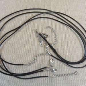 Colliers cordon coton ciré noir 47cm avec chaînette et mousqueton – lot de 10