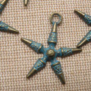 Pendentifs étoile bronze patiné 25mm bijoux bohème – lot de 5