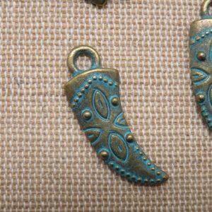 Pendentifs corne dague viking bronze patiné 30mm – lot de 5