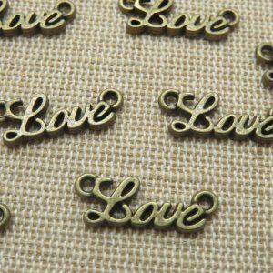 Pendentifs Love bronze connecteur en métal 20mm – lot de 10
