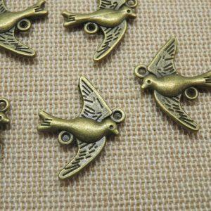 Pendentifs oiseau hirondelle bronze 22mm – lot de 5