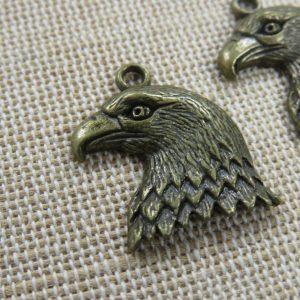 Pendentifs Tête d'Aigle Bronze 22mm en métal – lot de 2