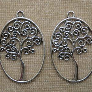 Pendentifs arbre de vie ovale argenté vieilli – lot de 2