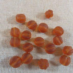 Perles lanterne lampwork orange givré 8mm – lot de 10