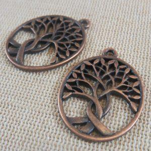 Pendentifs arbre de vie cuivre ovale – lot de 2