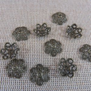 Coupelles fleur filigrané bronze 11mm en métal – lot de 20