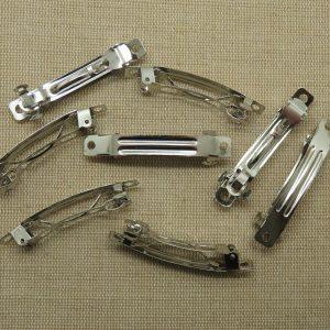 Pinces cheveux à clips métal coloris argenté 51x6mm – lot de 10