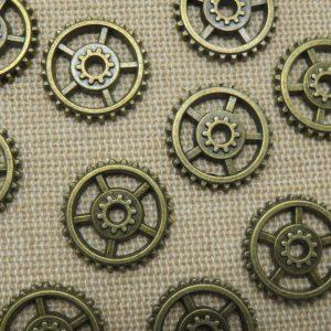 Breloques steampunk engrenage bronze 18mm – lot de 10