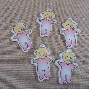 Cabochons bébé rose en bois 40x25mm appliqué – lot de 5