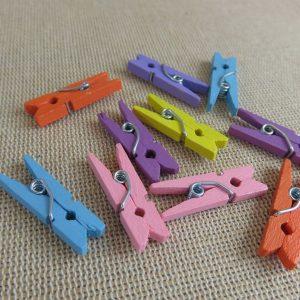 Pinces à linge en bois multicolore 25mm – vendu par 20