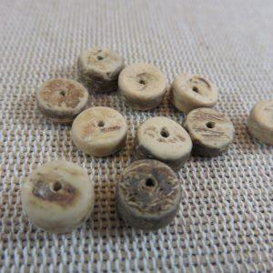 Perles rondelle en bois de coco 8mm palet naturel – lot de 20