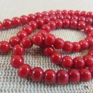 Perles en verre rouge 4mm ronde – lot de 30