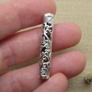 Longue perles colonne ajouré fleuri argenté 36x7mm cheveux dreadlocks – lot de 2