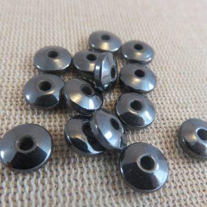 Perles soucoupe hématite noir Gunmétal 8mmx3mm – lot de 20