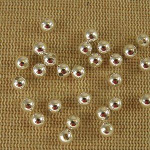 Perles en cuivre 5mm ronde coloris argenté – lot de 20