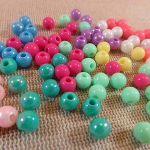 Perles ronde 6mm multicolore en acrylique – lot de 25