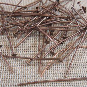 Clous tiges à tête plate 35mm alliage fer et cuivre – lot de 50