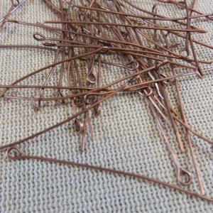 Clous tiges tête boucle 50mm coloris cuivre – lot de 50