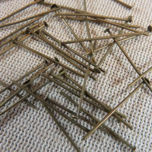 Clous tige 26mm bronze tête plate – lot de 50 apprêt pour bijoux