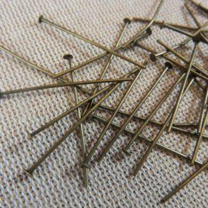 Clous tige 30mm bronze tête plate – lot de 50 apprêt pour bijoux