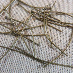 Clous tige 40mm bronze tête plate – lot de 50 apprêt pour bijoux