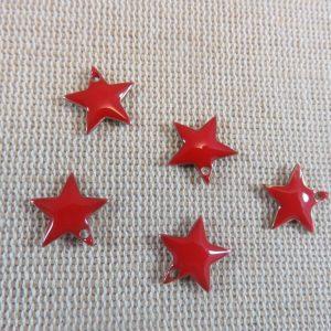 Breloques étoile rouge émaillé sequins 12mmx11mm – lot de 10