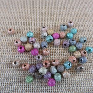 Perles acrylique 4mm ridé bubblegum – lot de 25