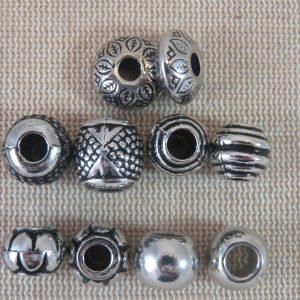 Perles acrylique mixte métallisé gros trou – lot de 5