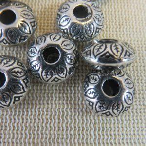 Perles acrylique soucoupe métallisé gros trou – lot de 5