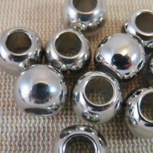 Perles acrylique ronde métallisé gros trou – lot de 5