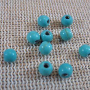 Perles Howlite bleu turquoise 4mm ronde – lot de 25