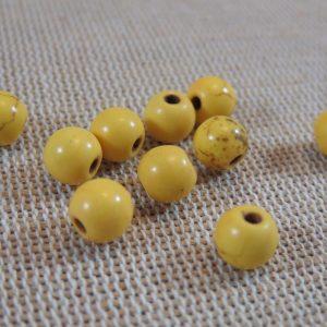 Perles Howlite jaune effet pierre turquoise 6mm ronde – lot de 14