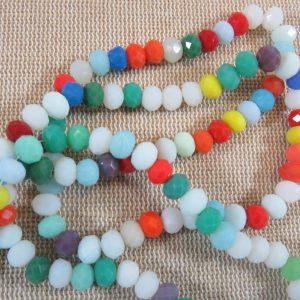 Perles de verre givré facetté 6mm assortiment – lot de 20