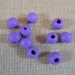Perles en bois violette 8mm ronde – lot de 25