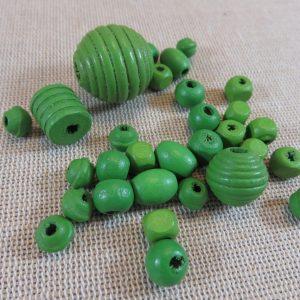 Perles en bois vert différentes formes – lot de 30