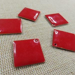 Breloques losange rouge cuivre émaillé 24mm – lot de 5