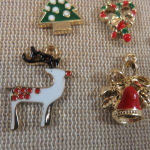 Pendentifs Père Noël Sapin renne métal émaillé – lot de 5