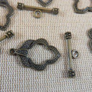 Fermoirs toggles feuilles bronze gravé style antique – lot de 5