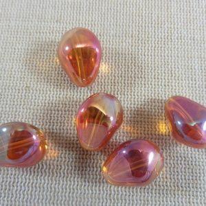 Perles goutte facetté orange en verre forme irrégulière 17mm – lot de 5