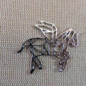 Pendentifs licorne origami argenté en métal – lot de 2