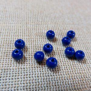 Perles en verre bleu saphir 4mm ronde – lot de 30