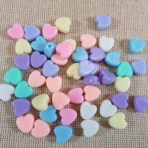 Perles cœur acrylique bubblegum 8mm multicolore – lot de 50