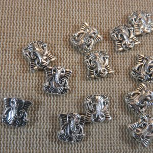 Perles éléphant Ganesh 3D argenté 10mm – lot de 10