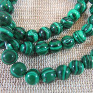 Perles Malachite synthétique 6mm verte rayé noir – lot de 10