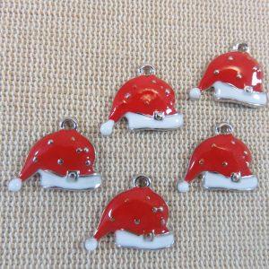 Breloques chapeau de Noël rouge métal émaillé – lot de 5