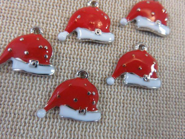 Breloques chapeau de Noël rouge métal émaillé