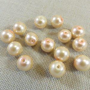 Perles verre style nacré 10mm ronde – lot de 15